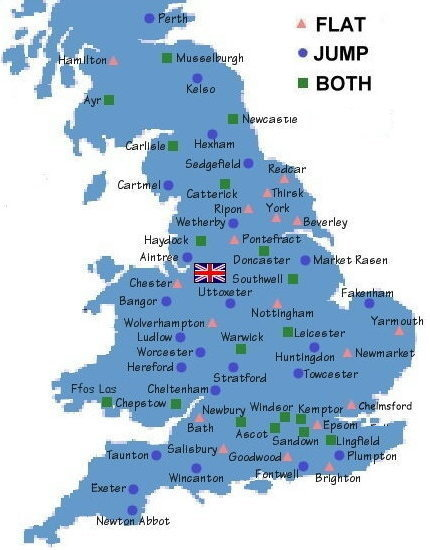 MAP SHOWING ALL UK FLAT AND NATIONAL HUNT RACECOURSES 2020